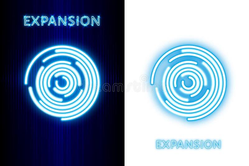 expansão Círculos de néon de expansão no fundo escuro e branco Fundo abstrato da tecnologia ilustração stock