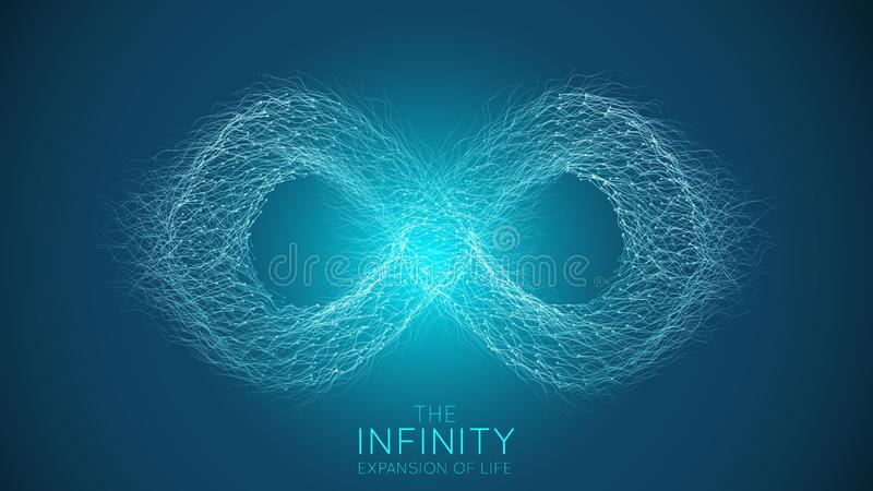 Expansão da infinidade da vida Fundo da explosão do sinal da infinidade do vetor As part?culas pequenas esfor?am-se fora do centr ilustração do vetor