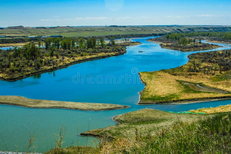 Bow River in summer, Wyndham/Carsland Provincial Park, Alberta, Canada royalty free stock images