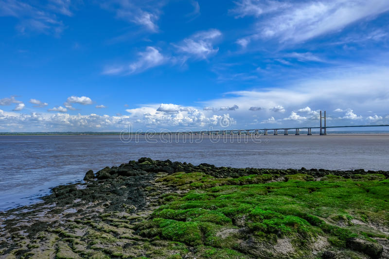 Expanse of the Severn Bridge stretching over the River. stock image