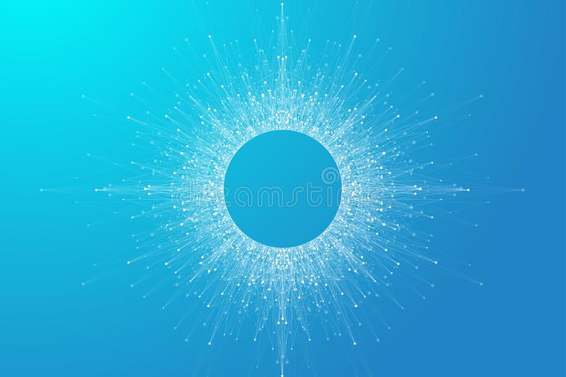 Expansion of life. Blue explosion background with connected line and dots, wave flow. Visualization Quantum technology. Abstract graphic background explosion vector illustration