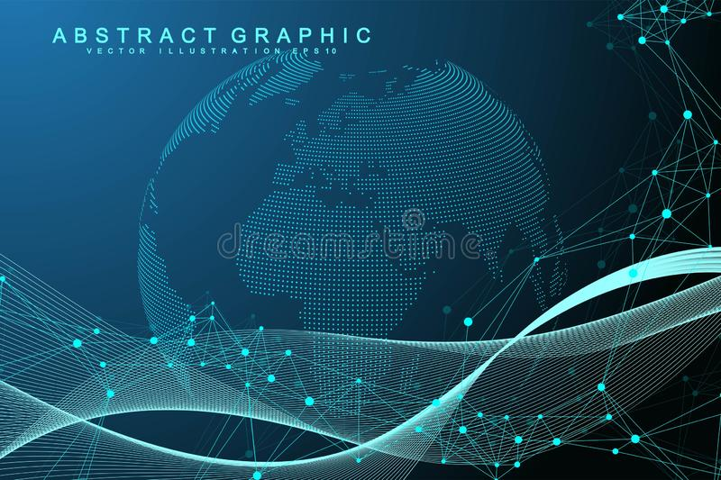 Expansion of life. Colorful explosion background with connected line and dots, wave flow. Visualization Quantum. Technology. Abstract graphic background stock illustration