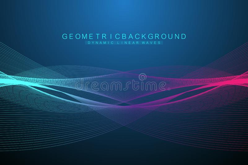 Expansion of life. Colorful explosion background with connected line and dots, wave flow. Visualization Quantum. Technology. Abstract graphic background vector illustration
