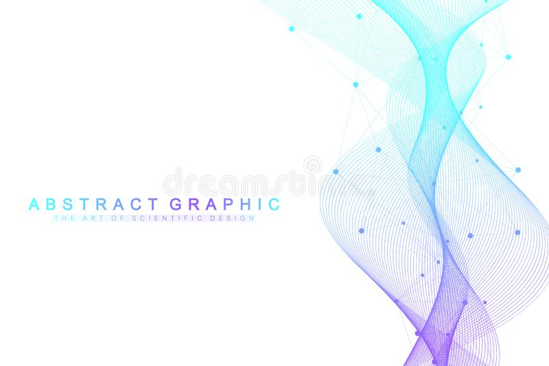 Expansion of life. Colorful explosion background with connected line and dots, wave flow. Visualization Quantum. Technology. Abstract graphic background royalty free illustration