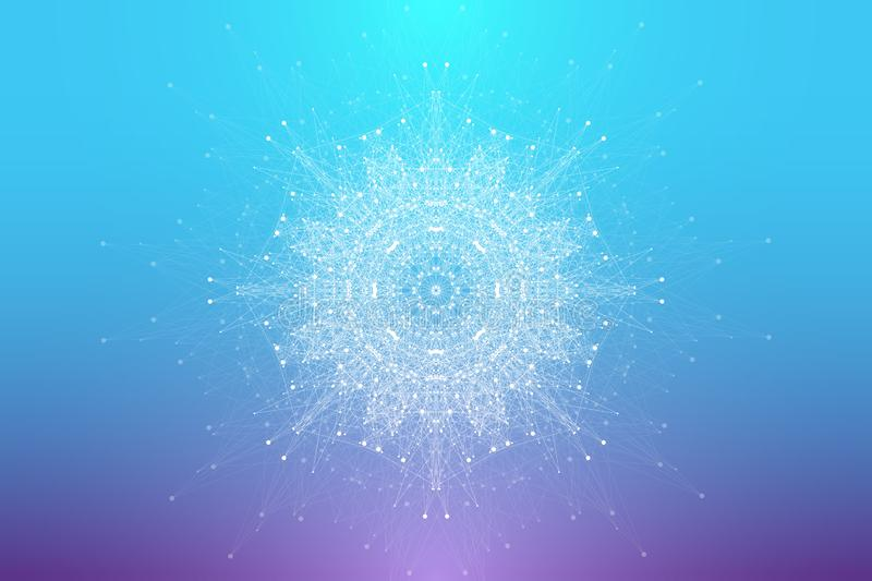 Expansion of life. Fractal explosion background with connected line and dots, wave flow. Visualization Quantum. Technology. Abstract graphic background vector illustration
