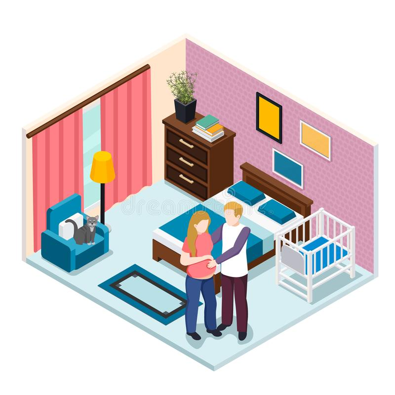 Expectation Baby Isometric Composition. Young man hugging pregnant woman in bedroom with child cot vector illustration stock illustration