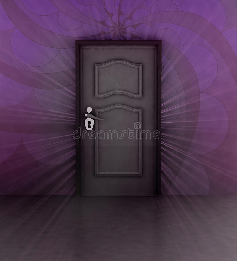 Download Expectation Behind Violet Wall And Closed Door Stock Illustration - Illustration: 29376157