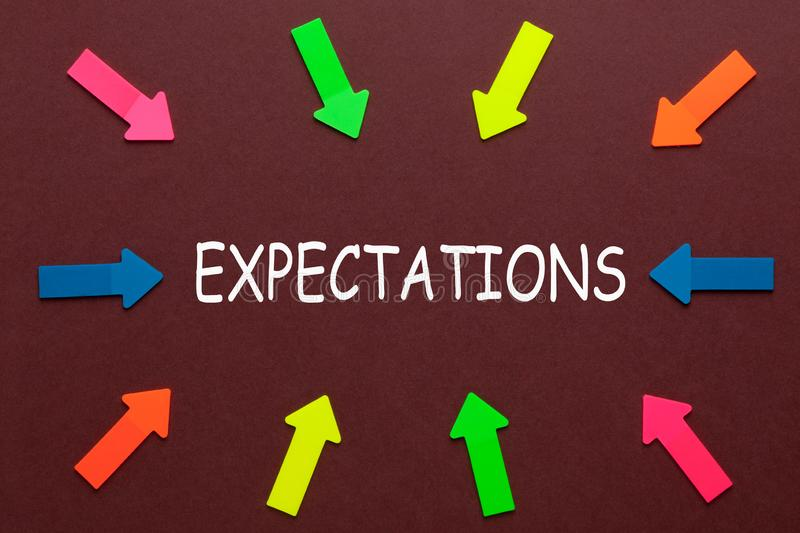 Expectations Business Concept. Colorful arrows pointing to text EXPECTATIONS. Business Concept royalty free stock images