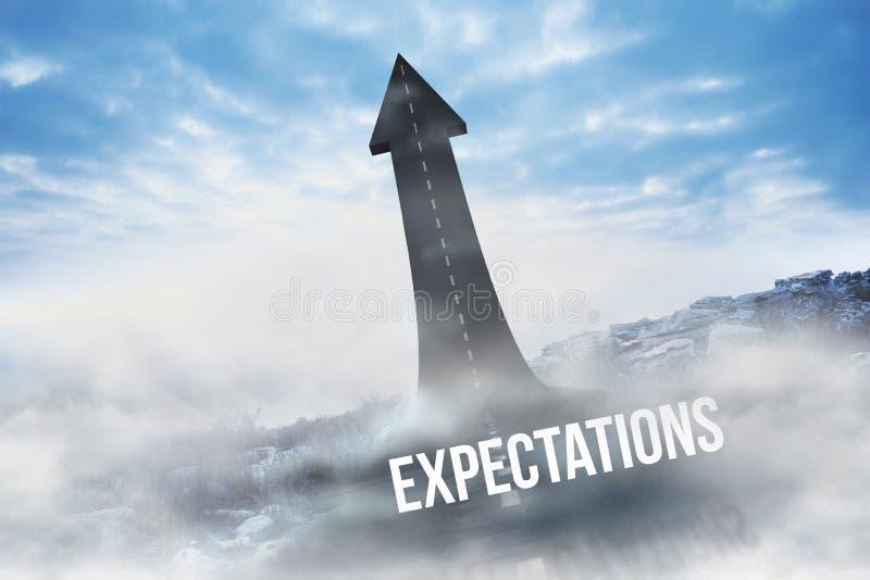 Expectativas contra el camino que da vuelta en flecha ilustración del vector