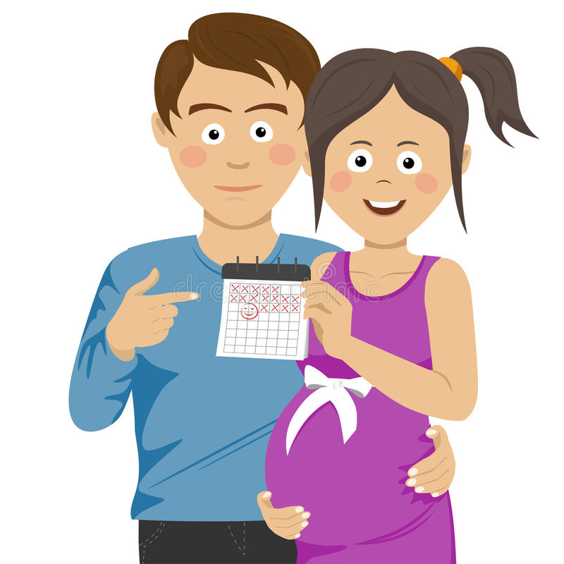Expecting young parents pointing to calendar royalty free illustration
