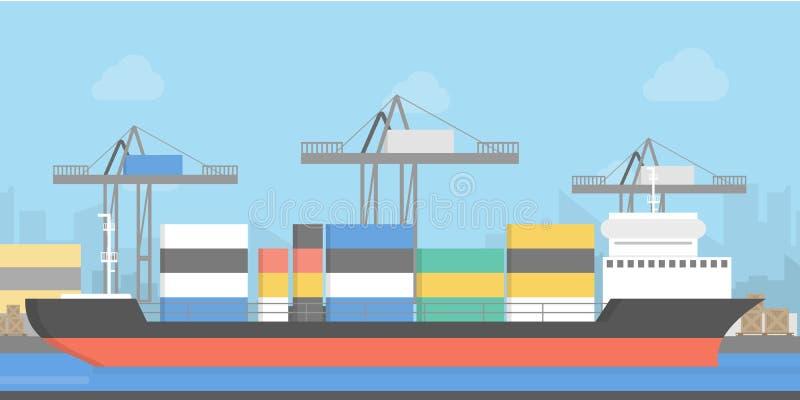 Expedição do cargo pelo mar ilustração stock