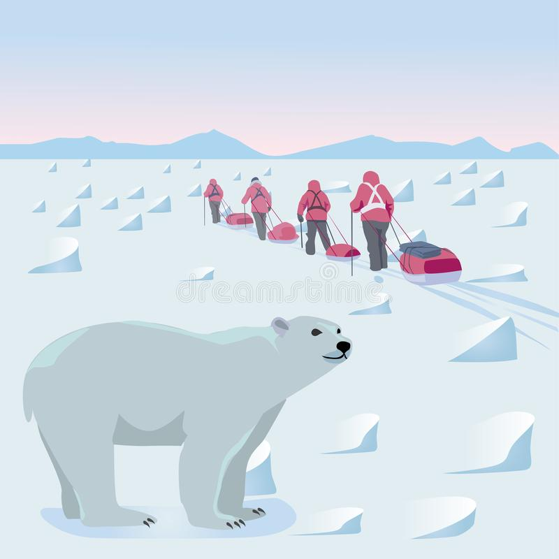 Expedição no ártico ilustração do vetor