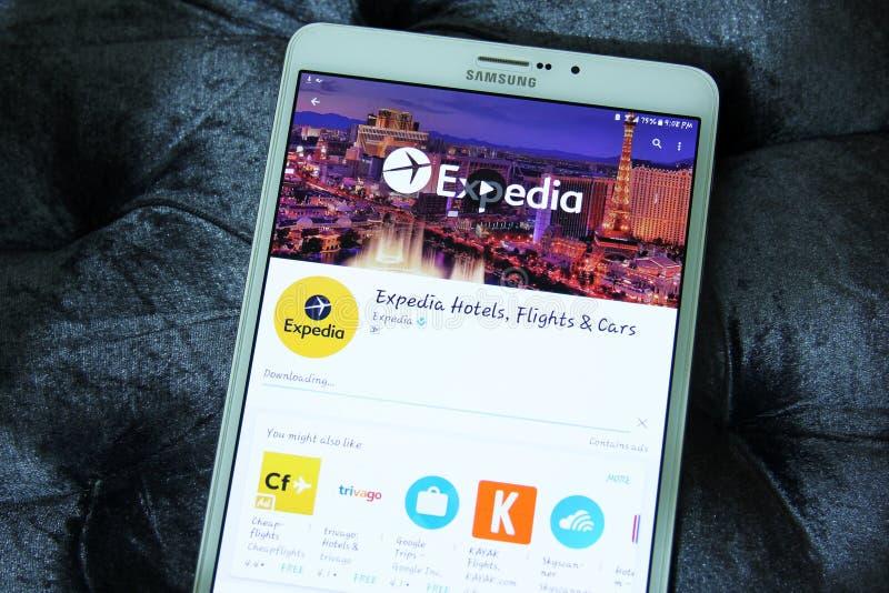 Expedia hotele, loty i samochody, app zdjęcia royalty free