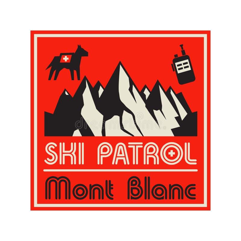 Expedición al aire libre Ski Patrol de la aventura stock de ilustración