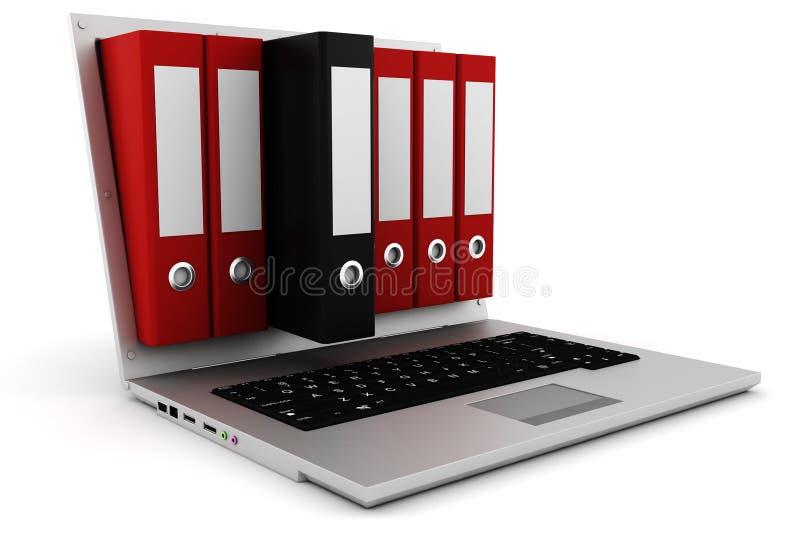 expediente 3d haciendo estallar de una pantalla de la computadora portátil stock de ilustración