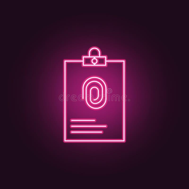 expediente con el icono de la huella dactilar Elementos de la investigación del crimen en los iconos de neón del estilo Icono sim libre illustration