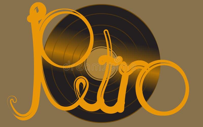 Expediente de gramófono antiguo antiguo retro análogo musical del vintage del inconformista del vinilo iridiscente de oro viejo p stock de ilustración