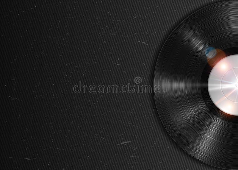 Expediente de gramófono de larga duración realista del vinilo de LP Cartel retro de la música ilustración del vector