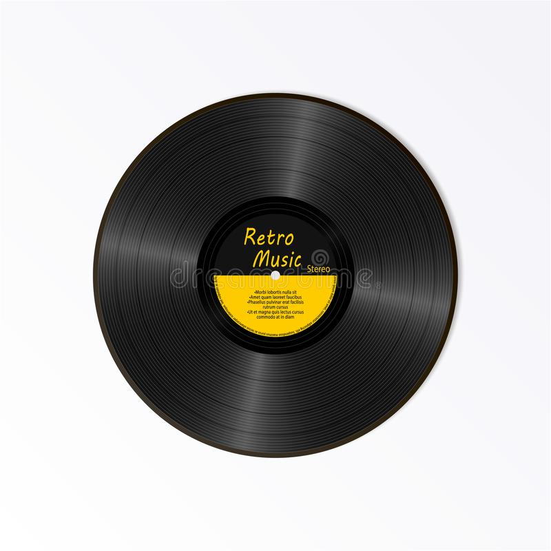 Expediente de negro vinilo realista Portador sano retro Expediente amarillo de LP de la etiqueta del nuevo gramófono con el texto stock de ilustración