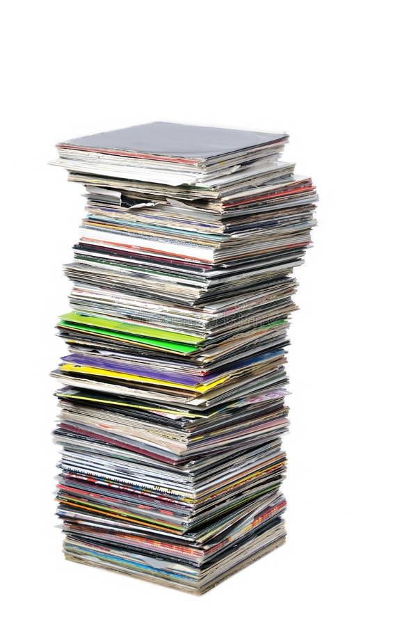 Expedientes de vinilo en el montón foto de archivo