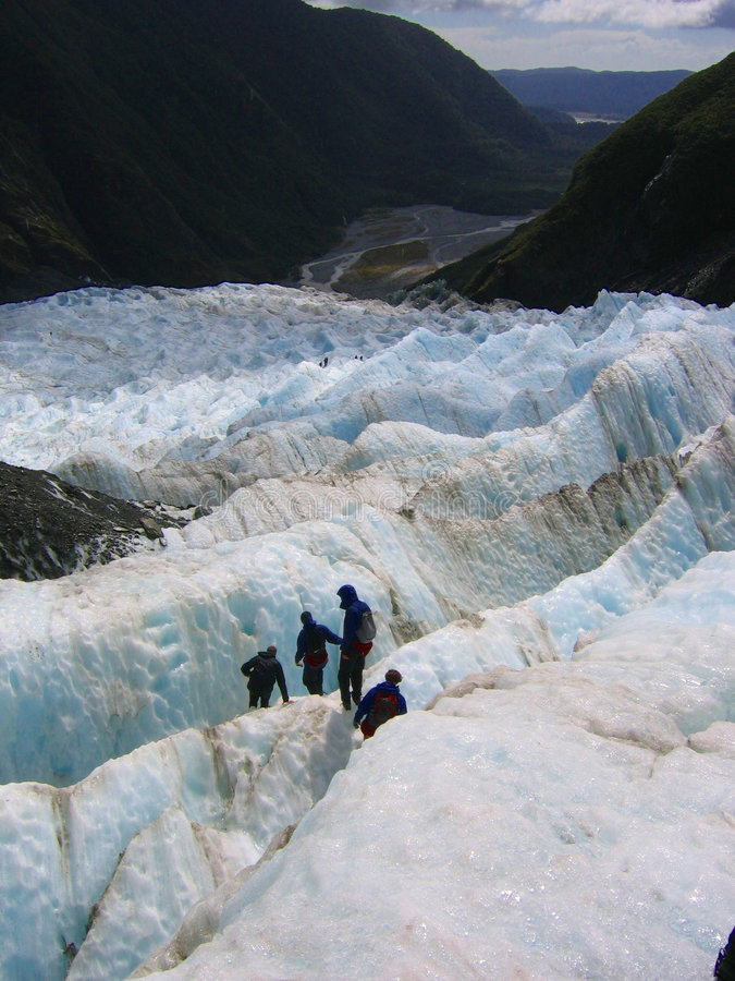 Expedition on a glacier. Expedition on the Franz Joseph glacier in New Zealand royalty free stock images