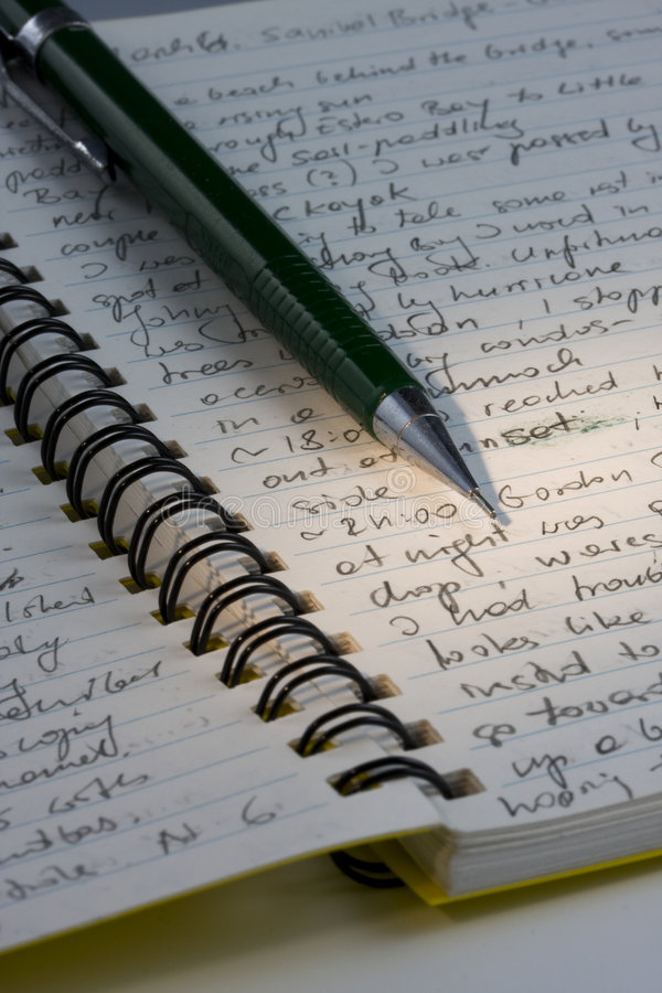 Expedition journal, handwritten with a pencil stock image