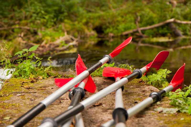 Expedition to kayaking. Summer expedition to kayaking the river flowing stock photography
