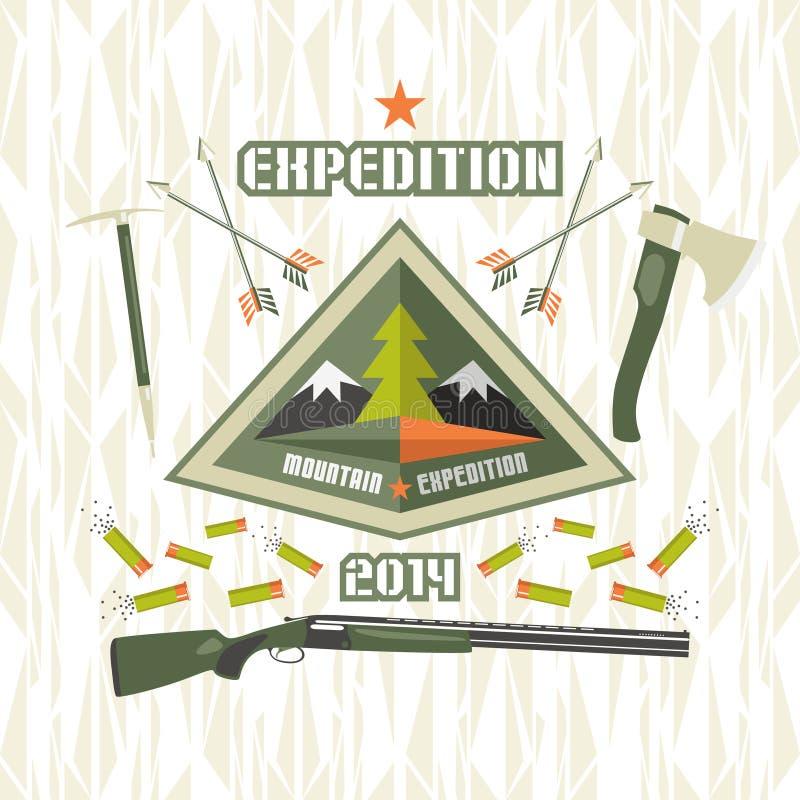 Expedition zu den Bergen lizenzfreie abbildung