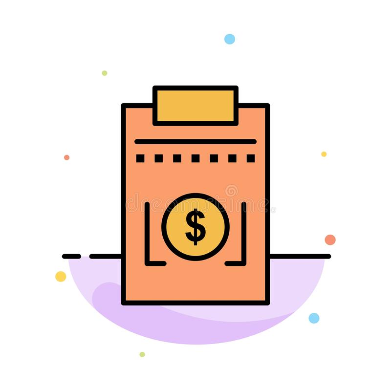 Expense, Business, Dollar, Money Abstract Flat Color Icon Template vector illustration