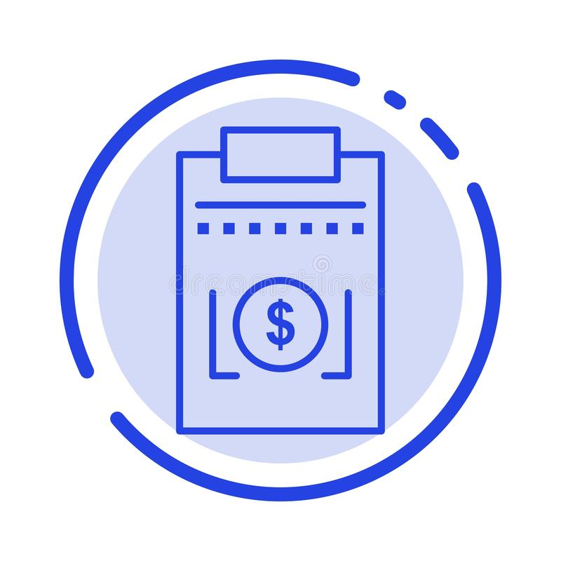 Expense, Business, Dollar, Money Blue Dotted Line Line Icon vector illustration