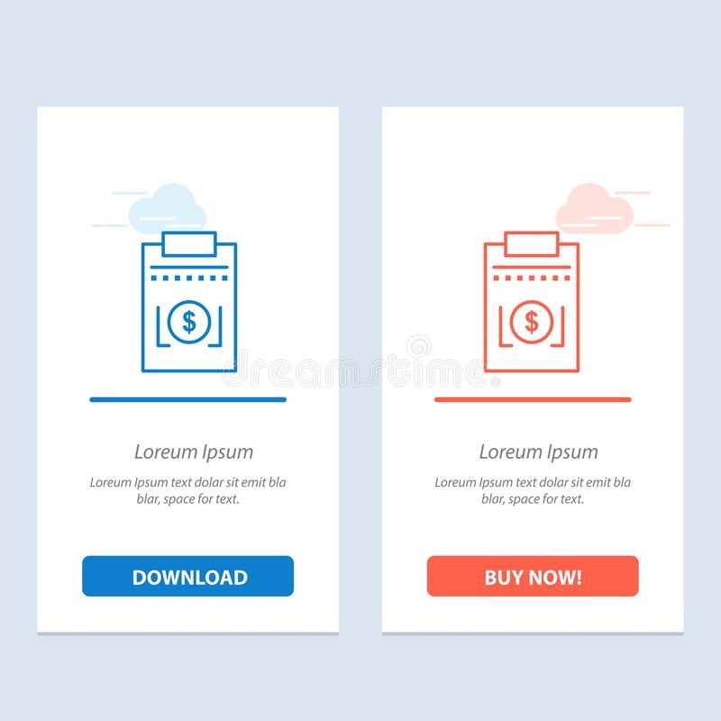 Expense, Business, Dollar, Money  Blue and Red Download and Buy Now web Widget Card Template royalty free illustration