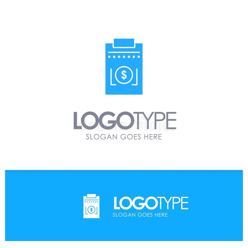 Expense, Business, Dollar, Money Blue Solid Logo with place for tagline royalty free illustration