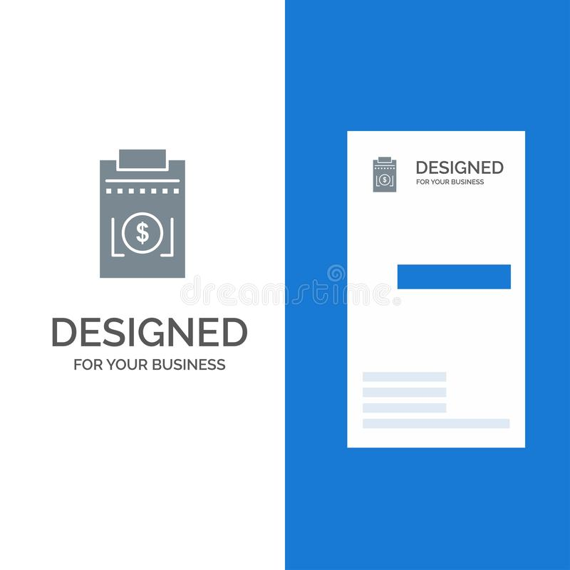Expense, Business, Dollar, Money Grey Logo Design and Business Card Template stock illustration