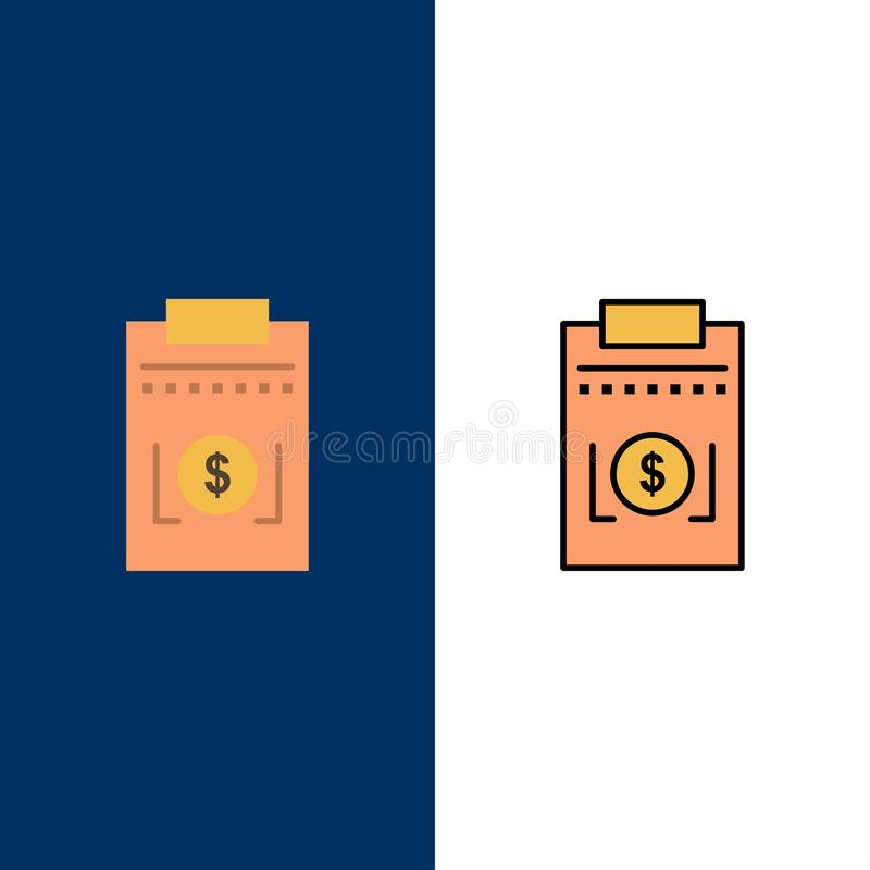Expense, Business, Dollar, Money  Icons. Flat and Line Filled Icon Set Vector Blue Background vector illustration