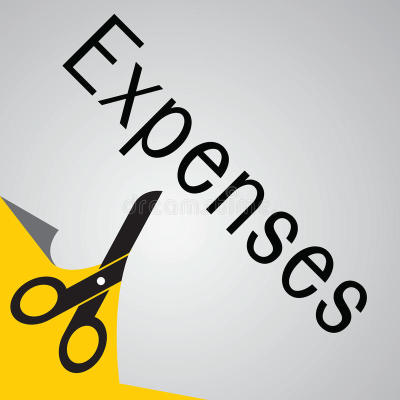 Expense cut. Scissors cutting banner with messsage expense royalty free illustration