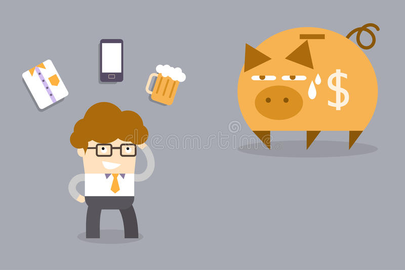 Expense problem concept. Of man thinking about what he would buy vector illustration