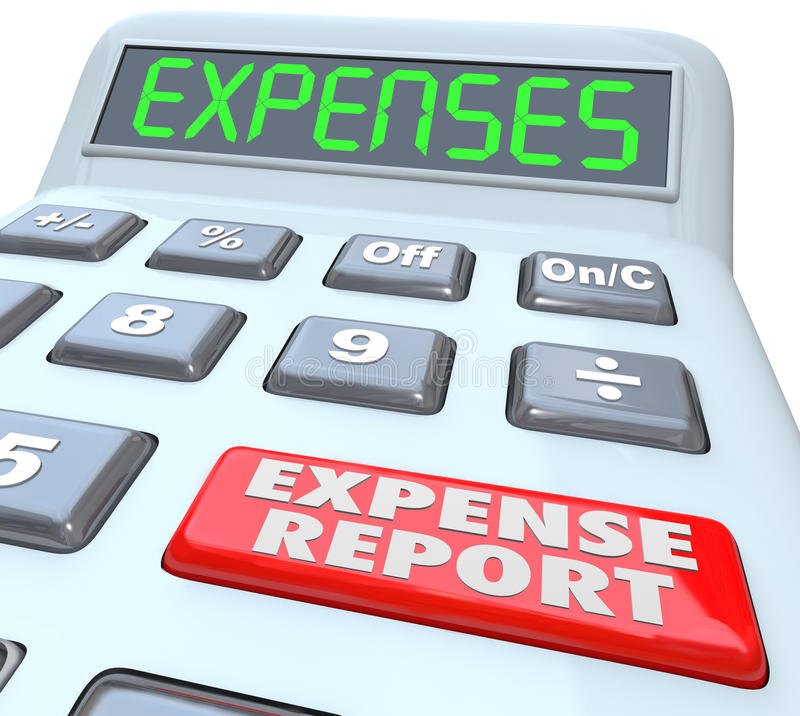Expense Report Calcualtor Adding Receipts Business Costs. Expense Reports words on a calculator display adding your receipts and costs for business meals, travel vector illustration