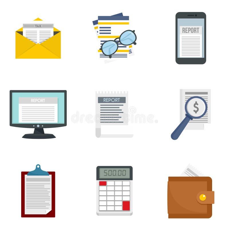 Expense report icon set, flat style. Expense report icon set. Flat set of expense report vector icons for web design royalty free illustration
