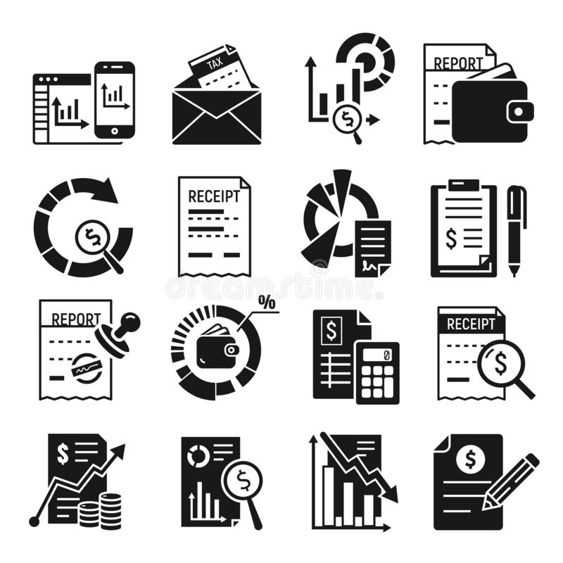 Expense report icons set, simple style. Expense report icons set. Simple set of expense report vector icons for web design on white background vector illustration