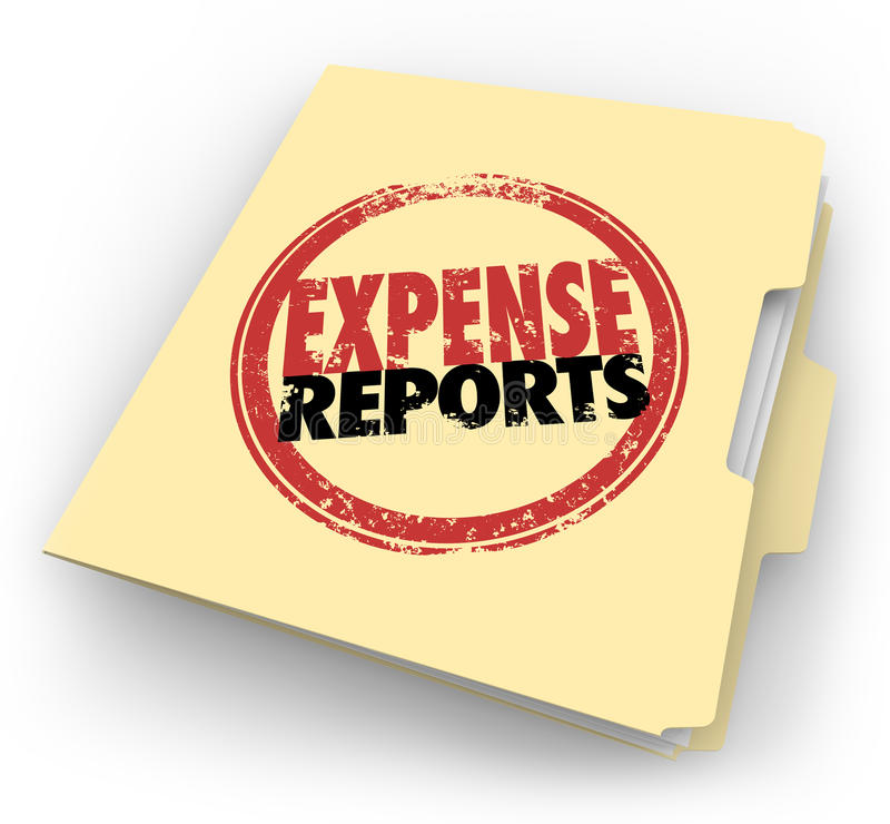 Expense Report Stamp Manila Folder Receipts Documents. Expense Report words stamped on a manila folder collecting a file of receipts and other documents for stock illustration