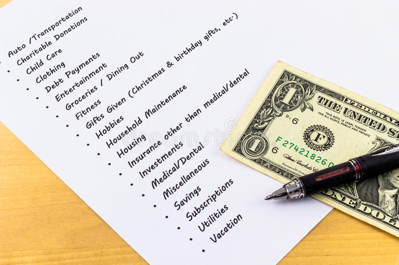 Expenses And Budget List With Wooden Background An Stock Photo