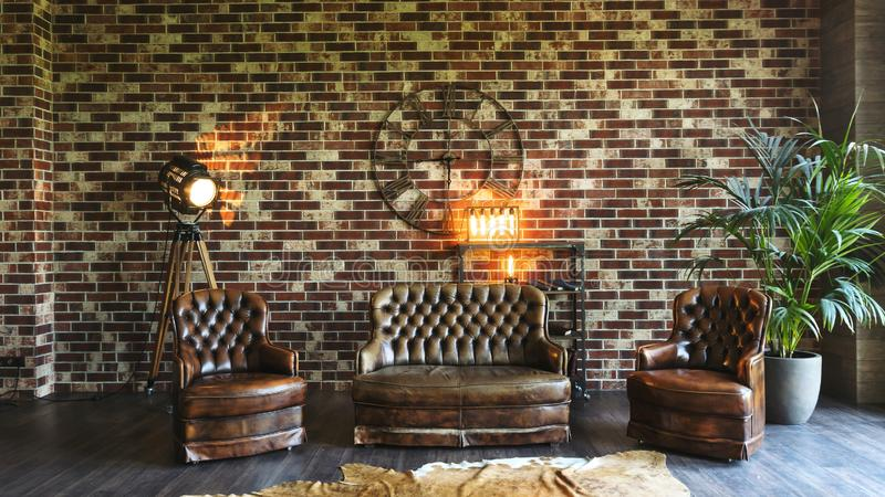 Bachelor Pad Exposed Brick Fireplace Chesterfield Sofa