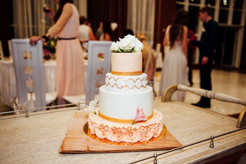 Expensive, elegant vintage wedding cake royalty free stock image