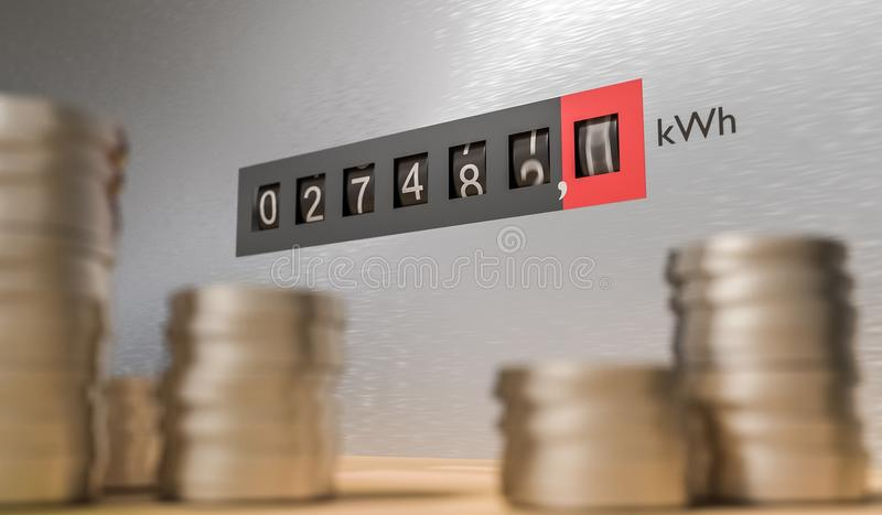 Expensive energy and power consumption concept. Coins in front of electricity meter. 3D rendered illustration.  stock illustration