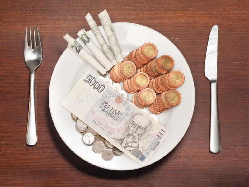 Expensive food. Plate with money instead of food symbolizing expensive food, consumerism or other food and money related concepts royalty free stock photo