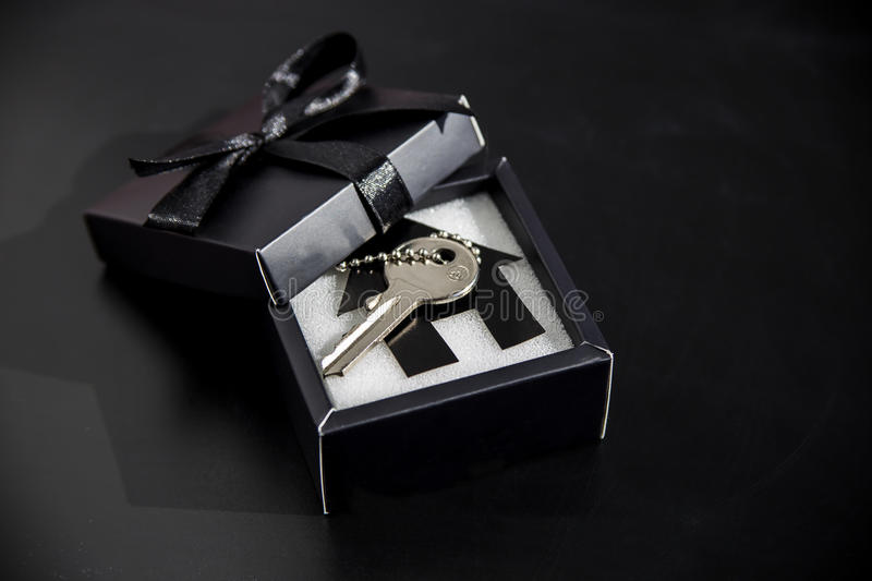 Expensive gift in a beautiful package - own housing royalty free stock photo