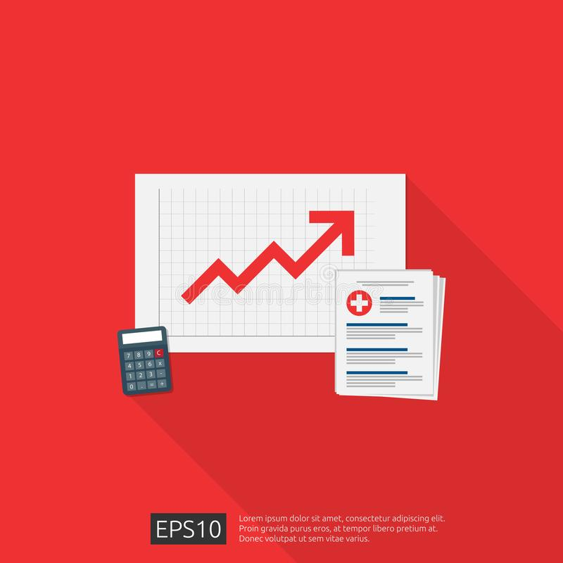 Expensive growing up health medicine cost concept. healthcare spendings or expenses. medical clipboard document with money and. Calculator. Flat design vector vector illustration