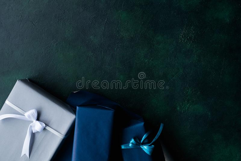 Expensive present for rich men on dark background royalty free stock images