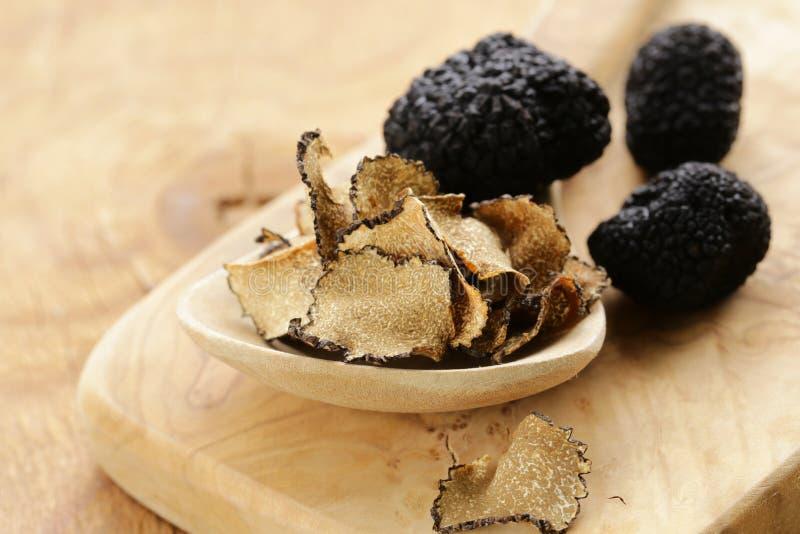 Expensive rare black truffle mushroom stock photo