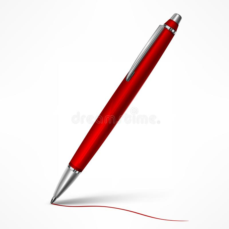 Free Expensive Red Tilt Pen On White Royalty Free Stock Images - 110258659